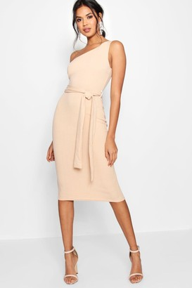 boohoo One Shoulder Belted Midi Dress