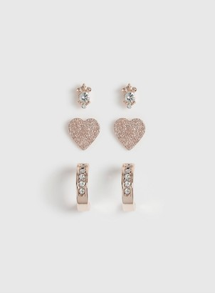 Dorothy Perkins Rose Gold Heart Earrings Pack