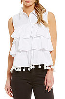 Gianni Bini Talita Tiered Button Front Blouse with Pom Trim
