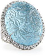 Rina Limor Fine Jewelry Large Oval Bouquet Carved Blue Topaz & Diamond Ring
