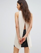 AX Paris Split Back Dipped Hem Top