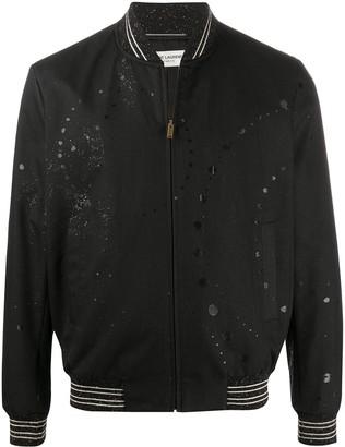 Saint Laurent Paint Splatter Bomber Jacket