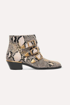 Chloé Susanna Studded Snake-effect Leather Ankle Boots - Snake print