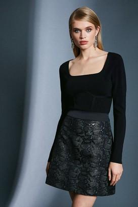 Karen Millen Snake Jacquard A Line Skirt