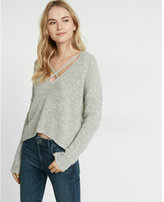 Express split back strappy v-neck pullover sweater