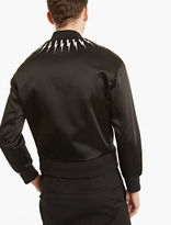 Neil Barrett Black Lightning Bolt Satin Bomber Jacket