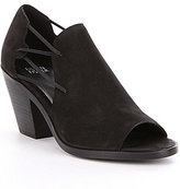 Eileen Fisher Nikki Leather & Elastic Slip-On Peep Toe Shooties