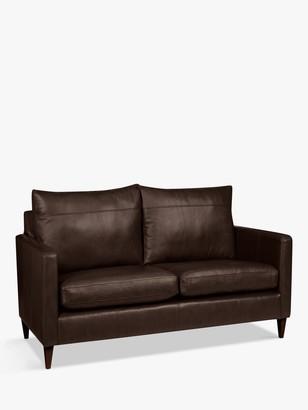 John Lewis & Partners Bailey Small 2 Seater Leather Sofa, Dark Leg