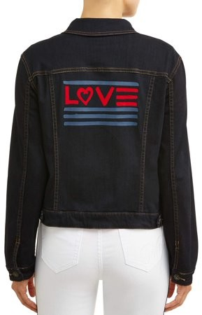 EV1 from Ellen DeGeneres Women's Dark Wash Denim Jacket with Love Flag