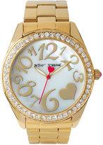 Betsey Johnson Women's Gold-Tone Stainless Steel Bracelet Watch 44mm BJ00249-27