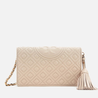 Tory Burch Women's Fleming Wallet Cross Body Bag - Light Taupe