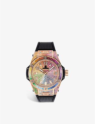 Hublot 465.OX.9910.LR.0999 Big Bang One Click Rainbow 18ct king-gold and gemstone watch