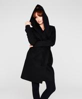 Black Hooded Wool-Blend Coat
