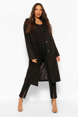 boohoo Tall Pocket Detail Longline Wool Look Coat