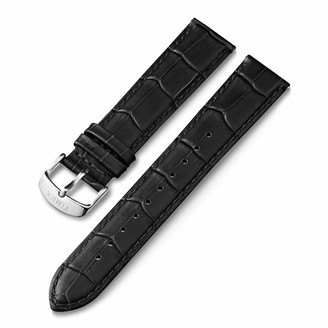 Timex 20mm Genuine Leather Quick-Release Strap Black Croco with Silver-Tone Buckle