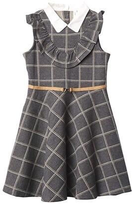 Janie and Jack Windowpane Ponte Dress (Toddler/Little Kids/Big Kids) (Multi) Girl's Dress