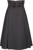 Bottega Veneta Leather-trimmed Pleated Denim Midi Skirt - Dark denim