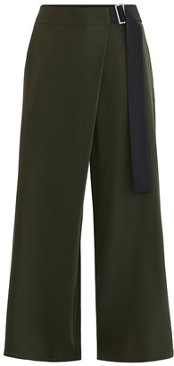 Green & Black Bloomsbury Wrap Wide Leg Trousers In