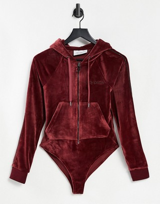 Juicy Couture Briana velour bodysuit with hood in cabernet