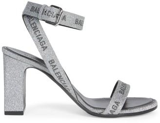 Balenciaga Metallic Logo-Print Block-Heel Sandals