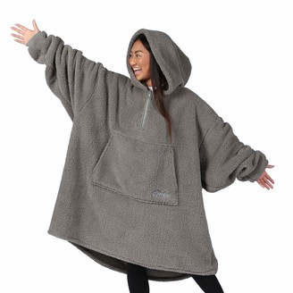 THE COMFY Teddy Bear Quarter Zip | Oversized Microfiber & Sherpa Wearable Blanket with Zipper Seen On Shark Tank One Size Fits All