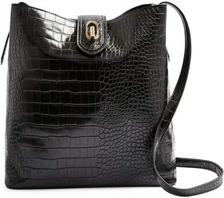 Topshop Arlo Crocodile-Embossed Hobo Bag