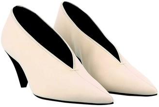 Celine Soft V Neck White Leather Heels