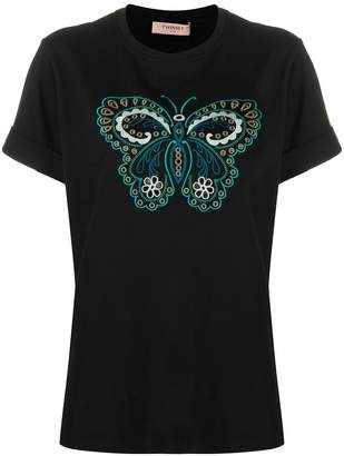 Twin-Set butterfly embroidered round neck T-shirt