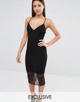 Missguided Exclusive Lace Hem Midi Dress