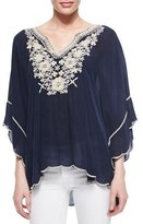 Johnny Was Embroidered Georgette Poncho Tunic, Petite