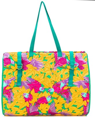 Hermes 1990s pre-owned XL parrots print tote