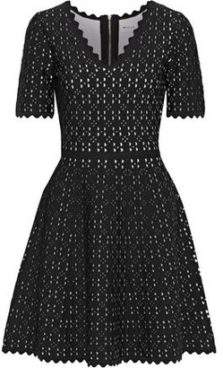 Milly Flared Laser-cut Ponte Mini Dress