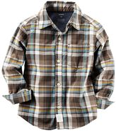 Carter's Boys 4-7 Woven Plaid Patterned Button-Down Shirt