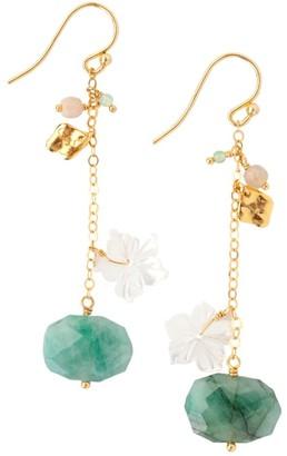 Chan Luu Emerald & Mixed Gemstone Cluster Drop Earrings