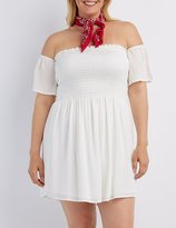 Charlotte Russe Plus Size Off-the-Shoulder Smocked Dress