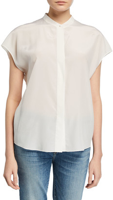 Vince Cap-Sleeve Back-Slit Button-Front Silk Blouse