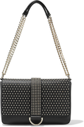 Boutique Moschino Studded Textured-leather Shoulder Bag