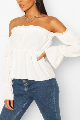 boohoo Tall Off The Shoulder Volume Sleeve Top