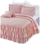 Serenta Matte Satin Ruffle 4 Piece Bed Spread Set, Pink, King