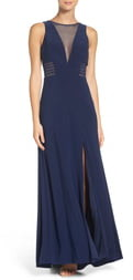 Morgan & Co. Illusion Panel A-Line Gown