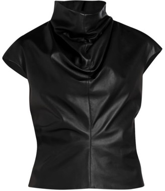 Unttld Cybil Mockneck Leather Top