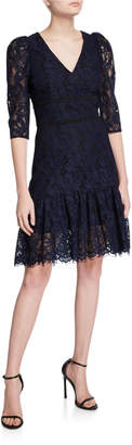 Shoshanna Miran V-Neck 1/2-Sleeve Lace A-Line Dress