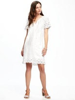 Old Navy Linen-Blend Cutwork-Embellished Shift Dress for Women