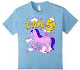 Kids Girls 5th Birthday T-shirt.Girls 5 year Birthday Unicorn Tee