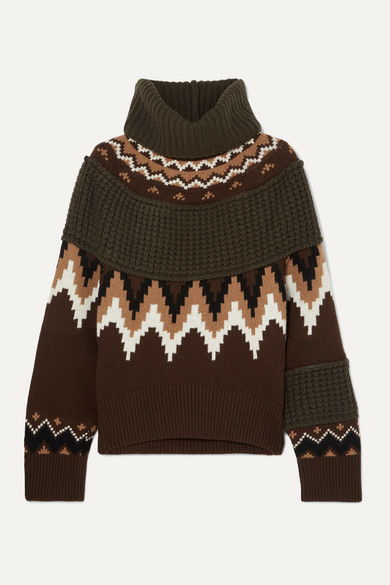 Sacai Fair Isle And Waffle-knit Wool-blend Turtleneck Sweater - Brown