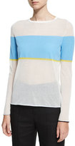 Diane von Furstenberg Long-Sleeve Crew-Neck-Pullover Sweater, White