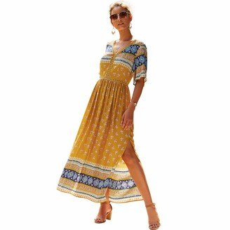 no branded Dresses for Women UKBohemian Dress Short-Sleeved Skirt with Neckline and Waist lace Design (Size: S M L