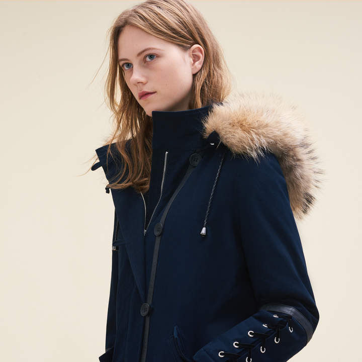 Maje Cropped parka with laced detail