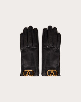 Valentino Vlogo Signature Gloves Women Black Lambskin 100% 6.5