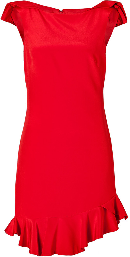 Notte by Marchesa Silk Dress in Red